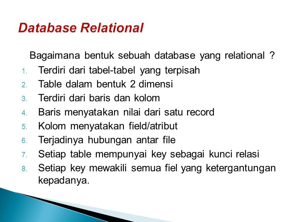 Database Relational Bagaimana bentuk sebuah database yang relational