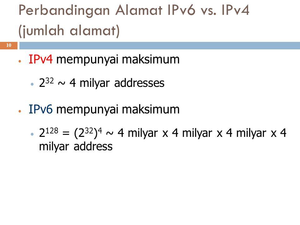 Perbandingan Alamat IPv6 vs. IPv4 (jumlah alamat)