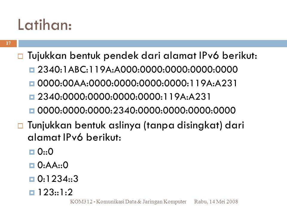 Latihan: Tujukkan bentuk pendek dari alamat IPv6 berikut: