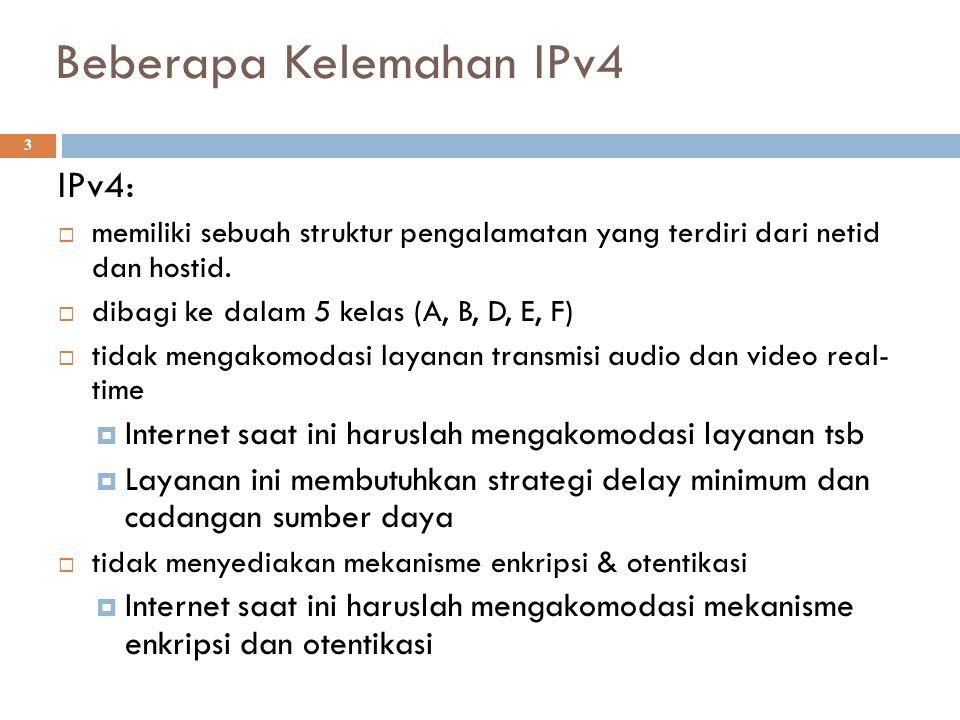 Beberapa Kelemahan IPv4