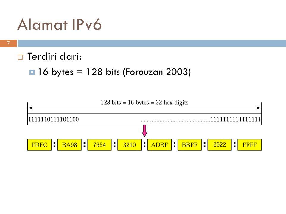 Alamat IPv6 Terdiri dari: 16 bytes = 128 bits (Forouzan 2003)