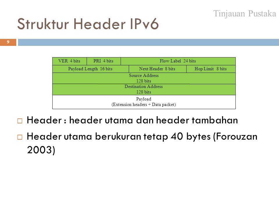 Struktur Header IPv6 Header : header utama dan header tambahan