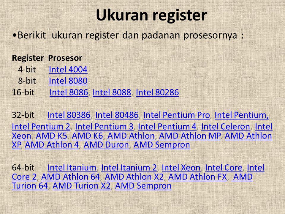 Ukuran register Berikit ukuran register dan padanan prosesornya :