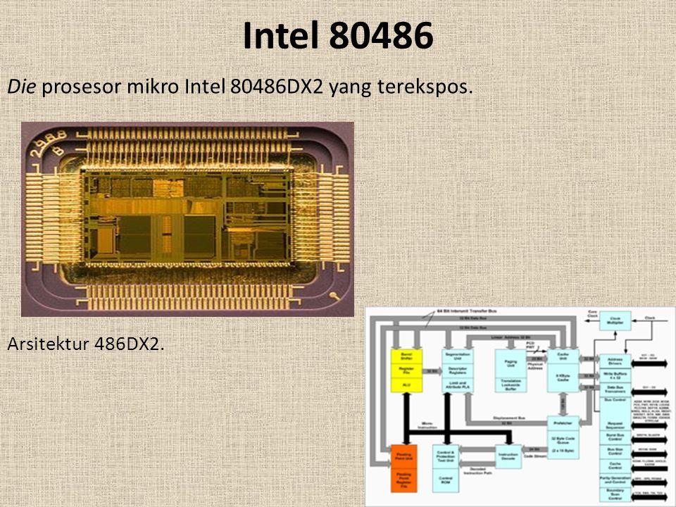 Die prosesor mikro Intel 80486DX2 yang terekspos. Arsitektur 486DX2.
