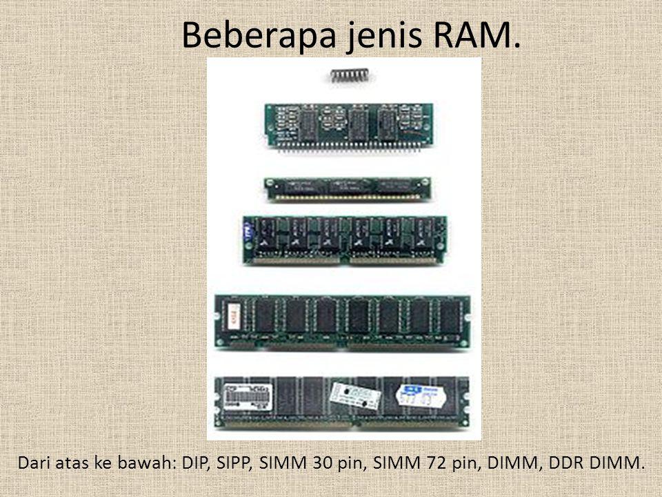 Beberapa jenis RAM. Dari atas ke bawah: DIP, SIPP, SIMM 30 pin, SIMM 72 pin, DIMM, DDR DIMM.