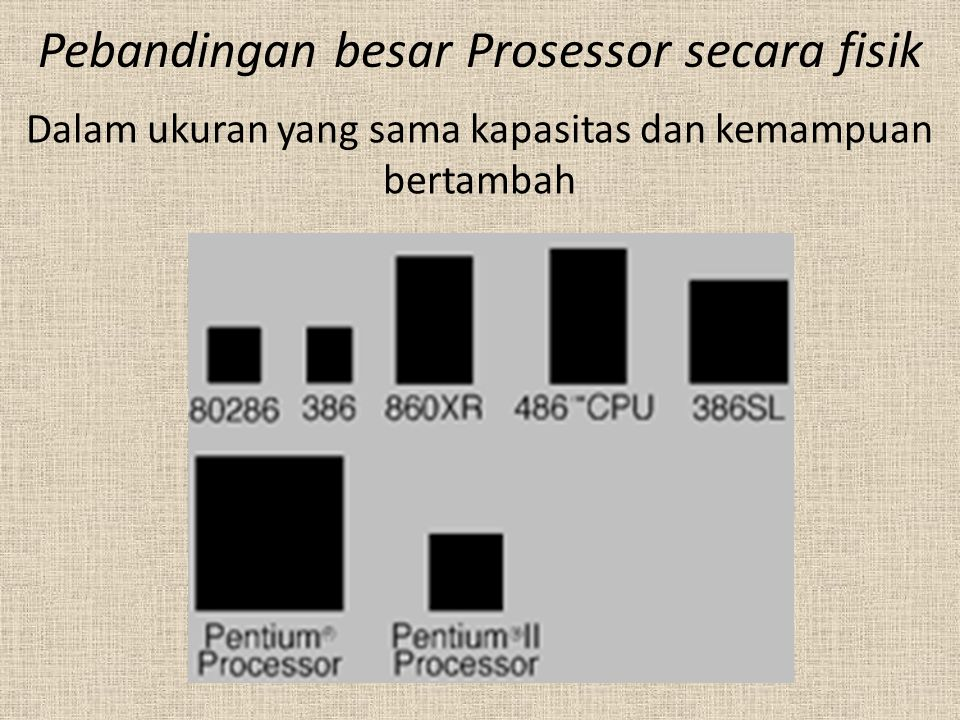 Pebandingan besar Prosessor secara fisik
