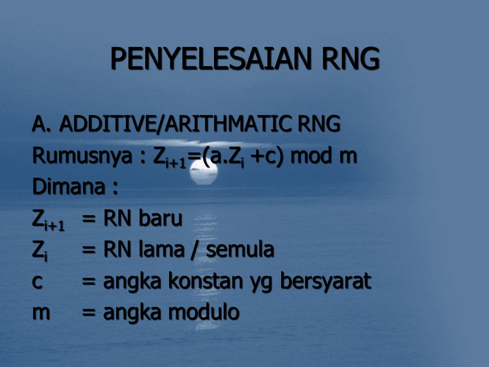 PENYELESAIAN RNG ADDITIVE/ARITHMATIC RNG