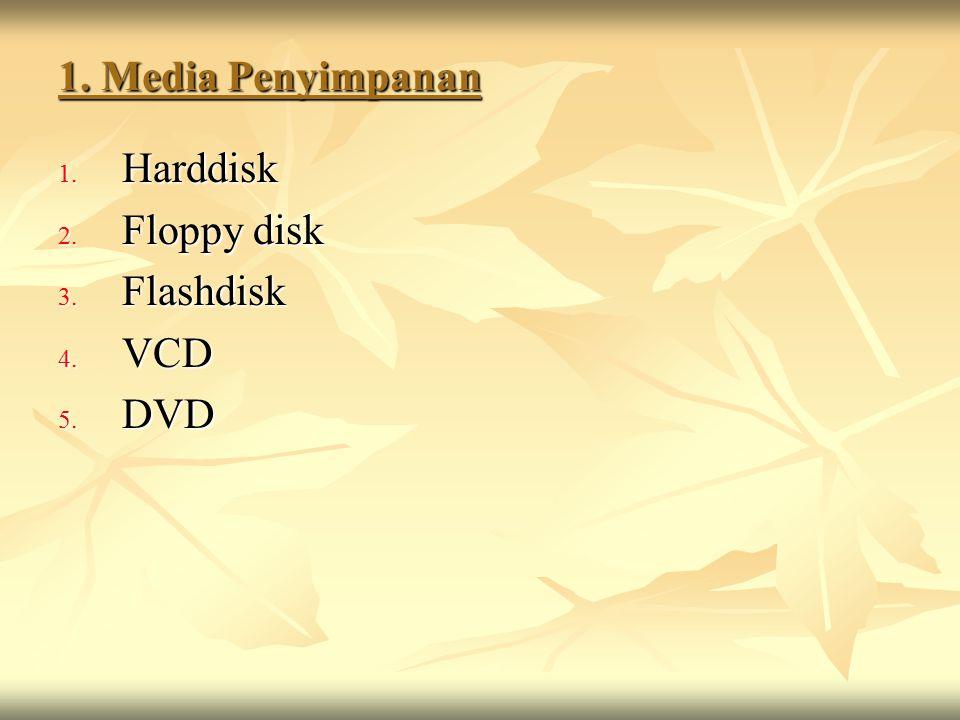 1. Media Penyimpanan Harddisk Floppy disk Flashdisk VCD DVD