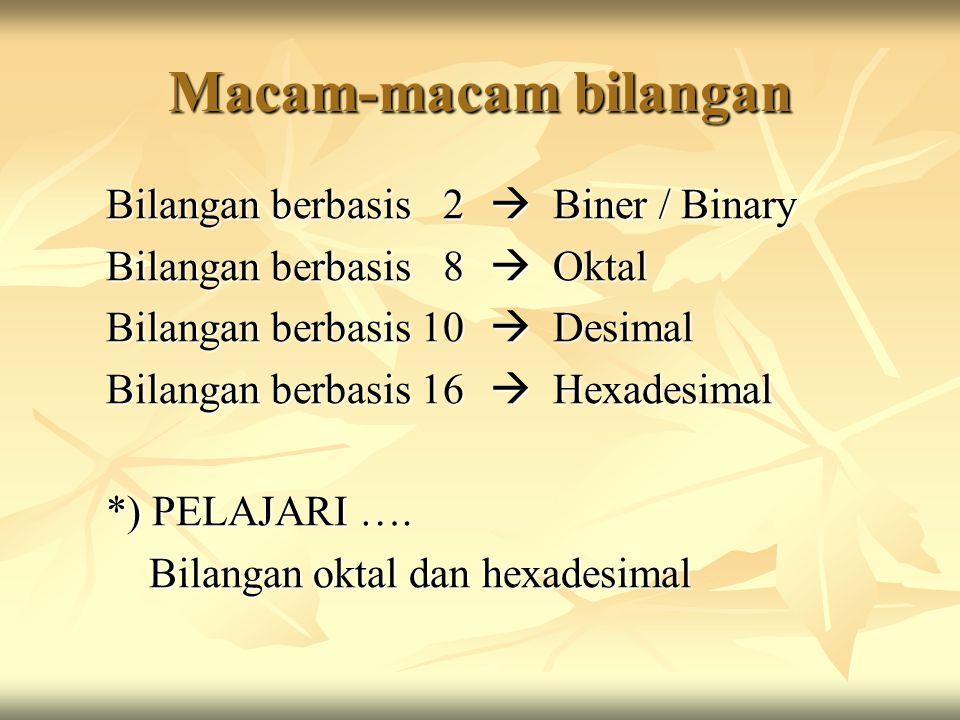 Macam-macam bilangan Bilangan berbasis 2  Biner / Binary