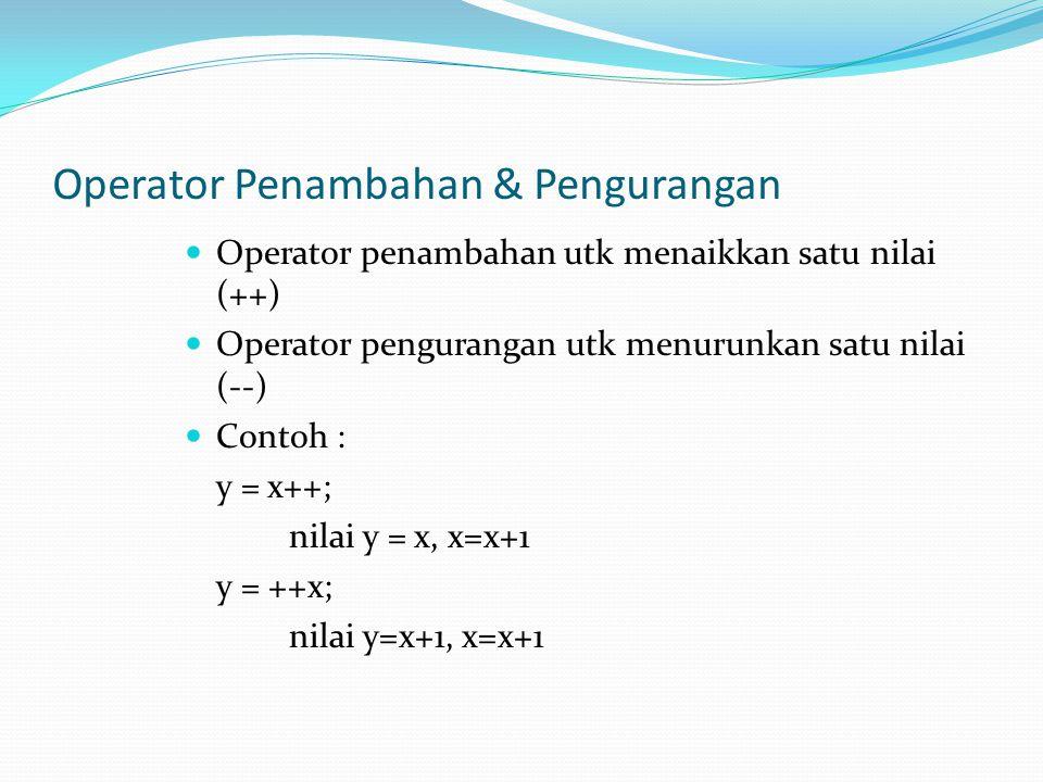 Operator Penambahan & Pengurangan