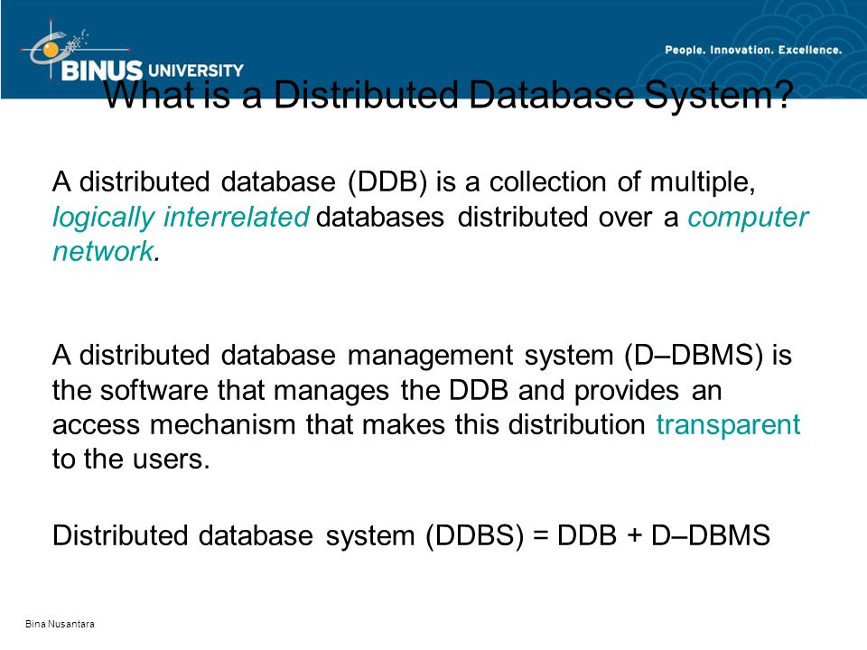 What is a Distributed Database System