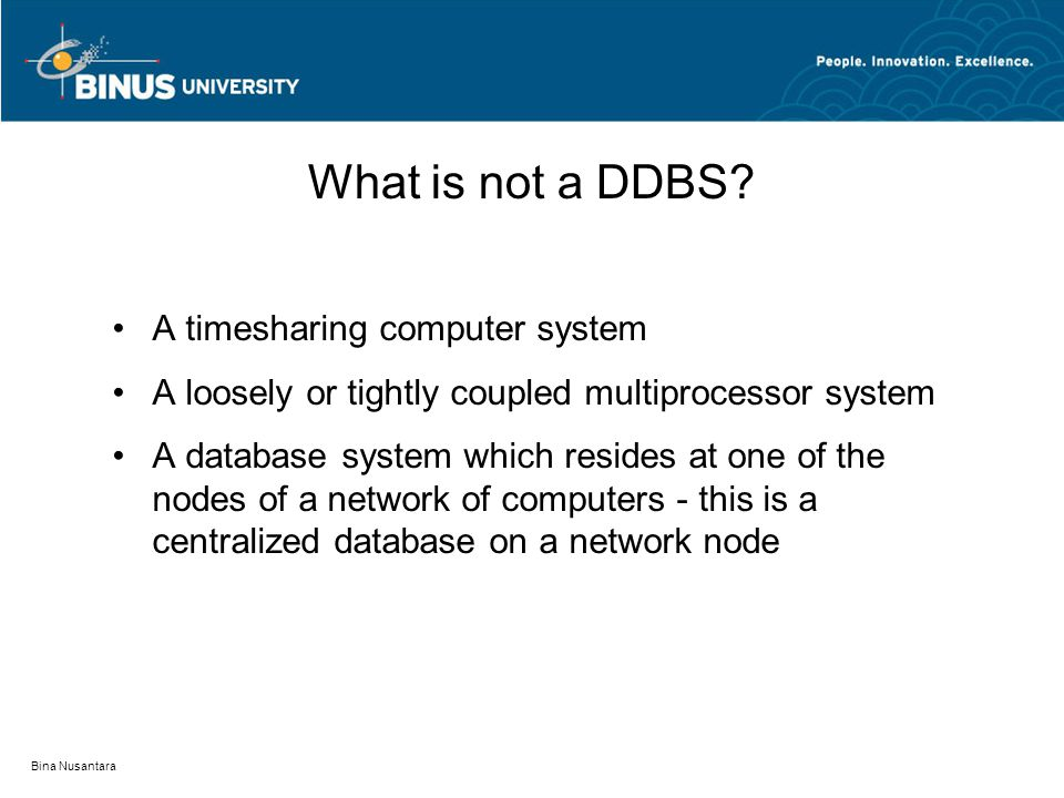 What is not a DDBS A timesharing computer system