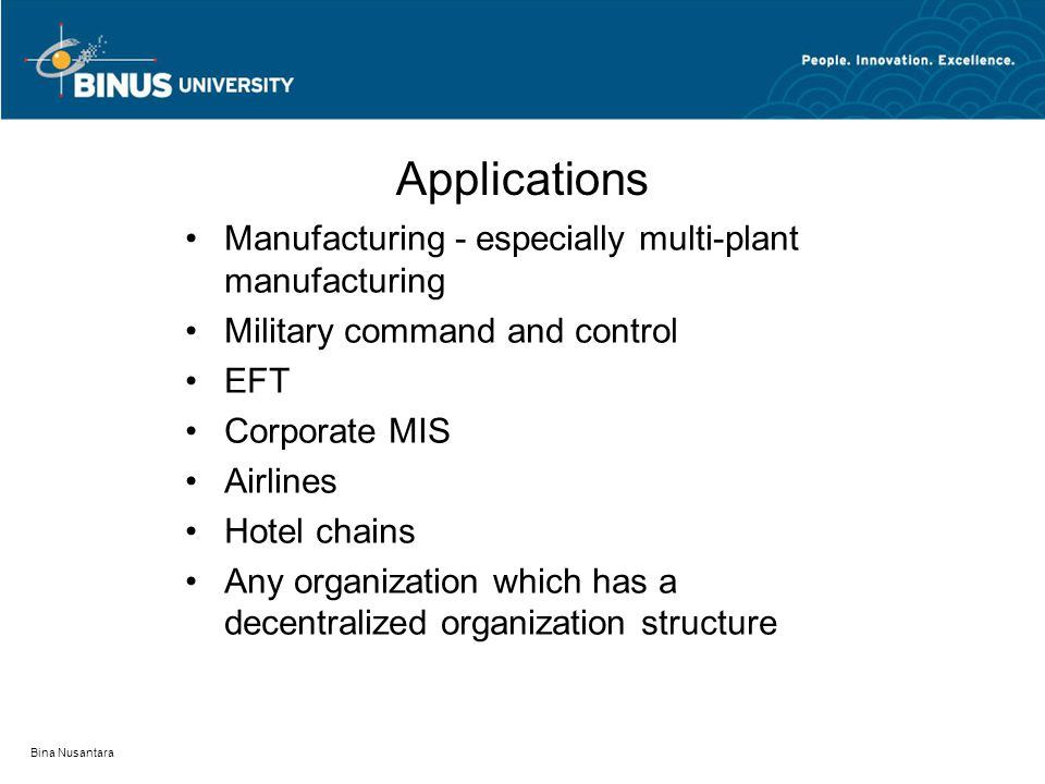 Applications Manufacturing - especially multi-plant manufacturing