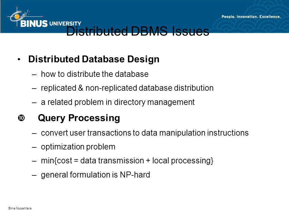 Distributed DBMS Issues