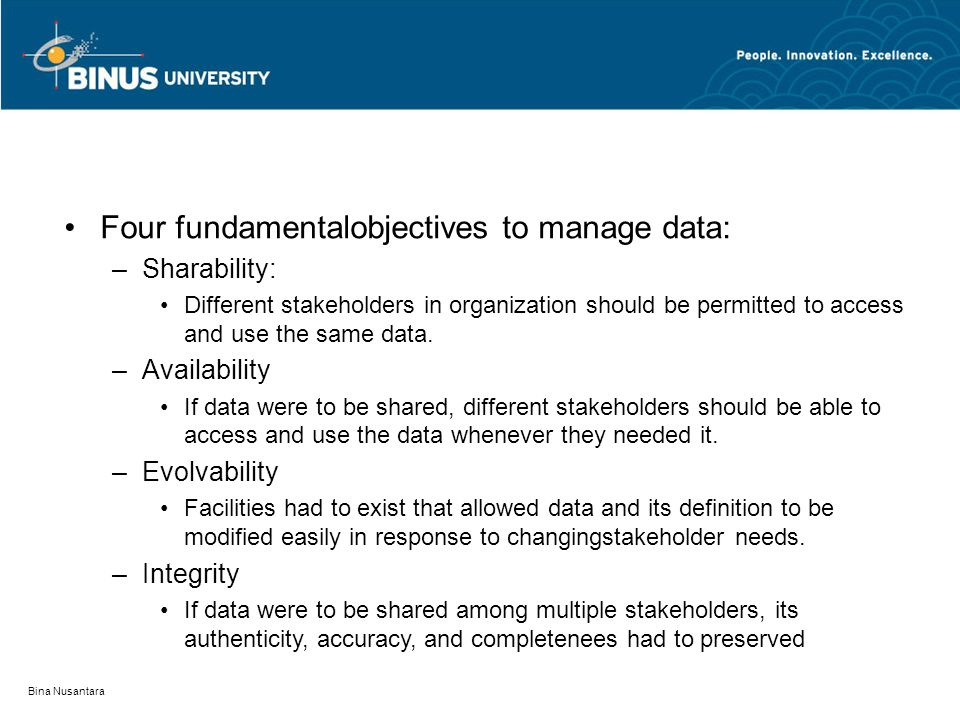 Four fundamentalobjectives to manage data:
