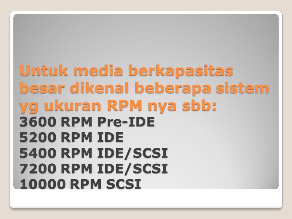 Untuk media berkapasitas besar dikenal beberapa sistem yg ukuran RPM nya sbb: 3600 RPM Pre-IDE 5200 RPM IDE 5400 RPM IDE/SCSI 7200 RPM IDE/SCSI 10000 RPM SCSI