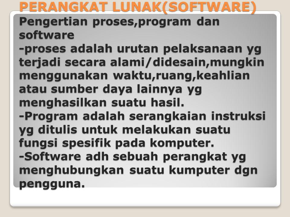 PERANGKAT LUNAK(SOFTWARE) Pengertian proses,program dan software -proses adalah urutan pelaksanaan yg terjadi secara alami/didesain,mungkin menggunakan waktu,ruang,keahlian atau sumber daya lainnya yg menghasilkan suatu hasil.