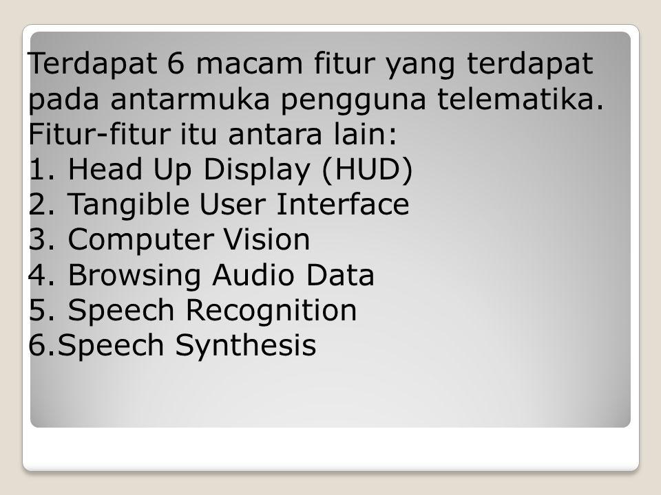 Terdapat 6 macam fitur yang terdapat pada antarmuka pengguna telematika.