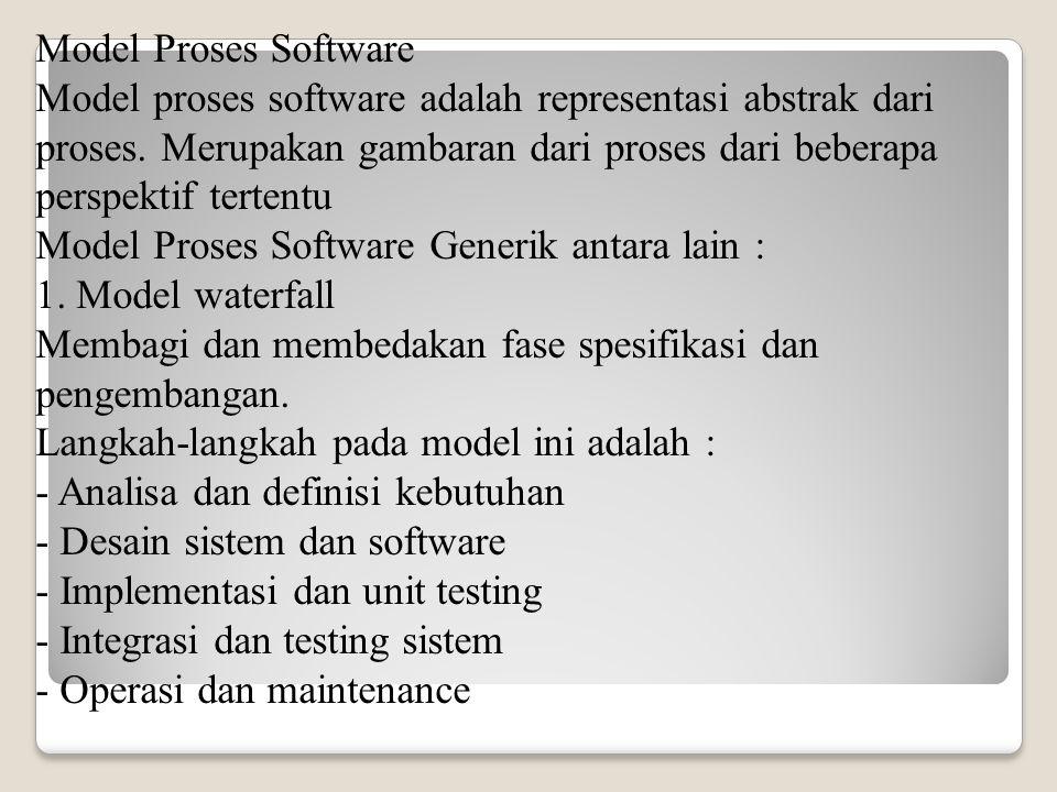 Model Proses Software Model proses software adalah representasi abstrak dari proses.