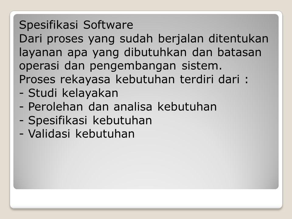 Spesifikasi Software Dari proses yang sudah berjalan ditentukan layanan apa yang dibutuhkan dan batasan operasi dan pengembangan sistem.