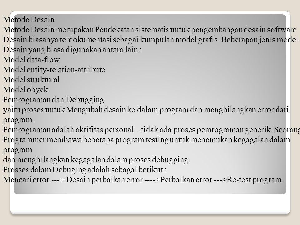 Metode Desain Metode Desain merupakan Pendekatan sistematis untuk pengembangan desain software Desain biasanya terdokumentasi sebagai kumpulan model grafis. Beberapan jenis model