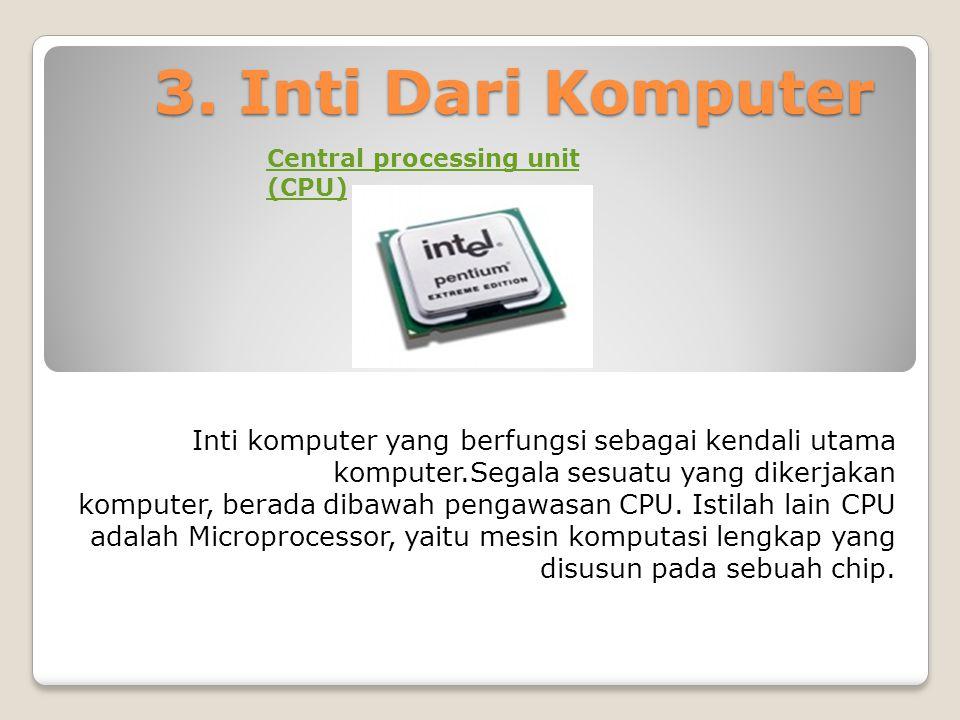 3. Inti Dari Komputer Central processing unit (CPU) Inti komputer yang berfungsi sebagai kendali utama komputer.Segala sesuatu yang dikerjakan.