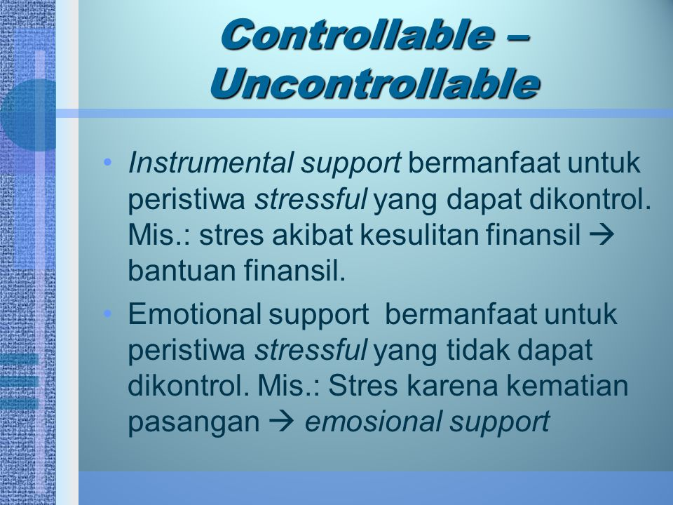 Controllable – Uncontrollable