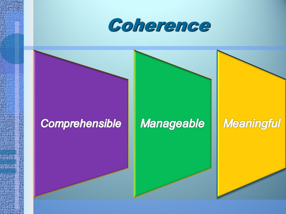Coherence Comprehensible Manageable Meaningful