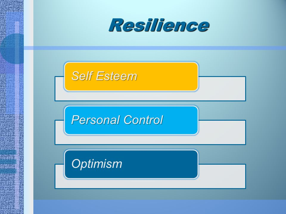 Resilience Self Esteem Personal Control Optimism