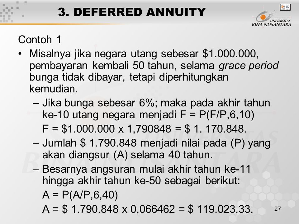 3. DEFERRED ANNUITY Contoh 1