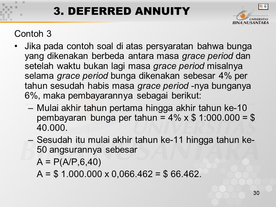 3. DEFERRED ANNUITY Contoh 3