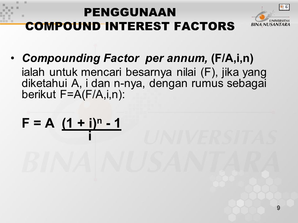 PENGGUNAAN COMPOUND INTEREST FACTORS