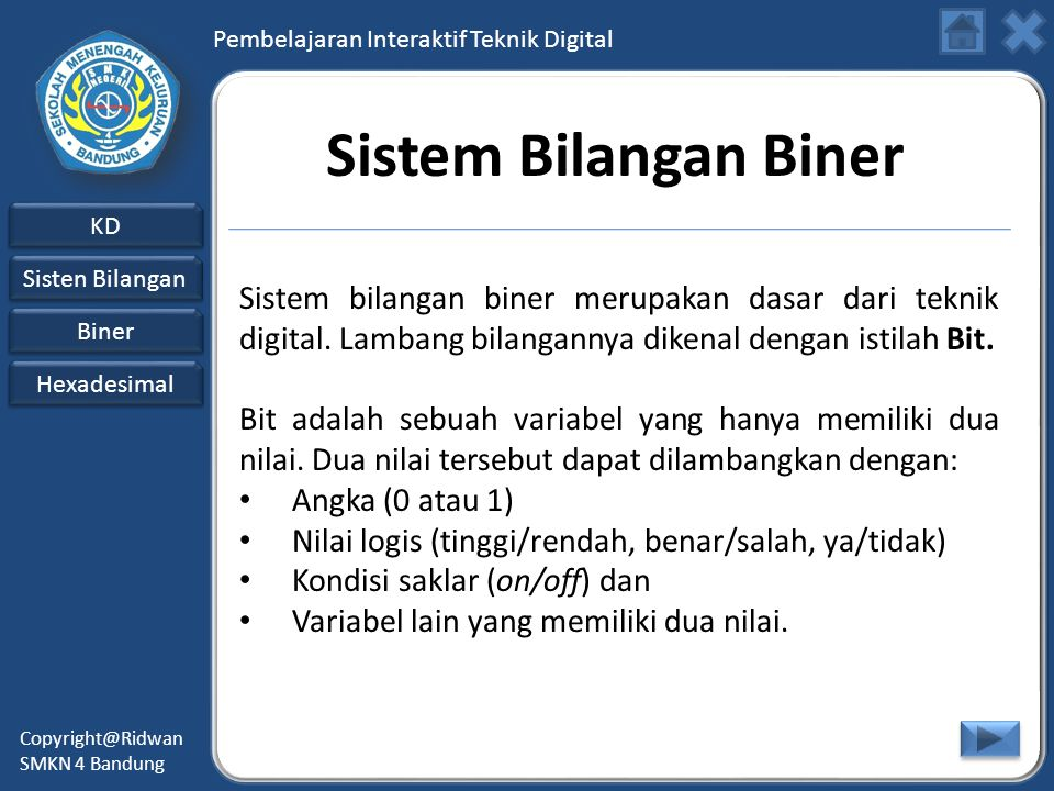 Sistem Bilangan Biner Sistem bilangan biner merupakan dasar dari teknik digital. Lambang bilangannya dikenal dengan istilah Bit.