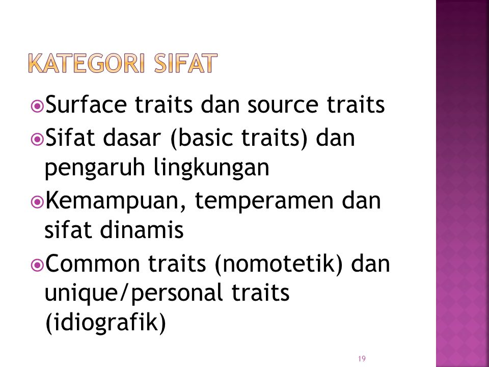 Kategori sifat Surface traits dan source traits