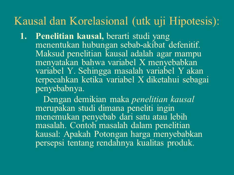 Kausal dan Korelasional (utk uji Hipotesis):