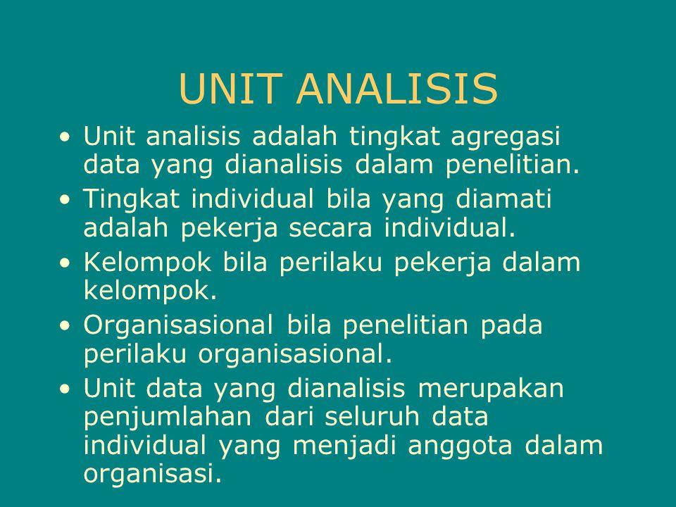 UNIT ANALISIS Unit analisis adalah tingkat agregasi data yang dianalisis dalam penelitian.