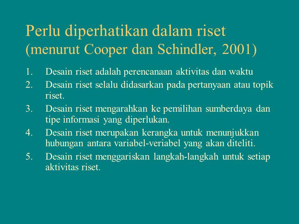 Perlu diperhatikan dalam riset (menurut Cooper dan Schindler, 2001)
