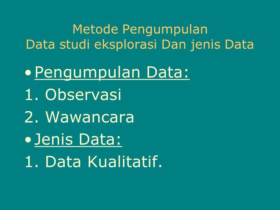 Metode Pengumpulan Data studi eksplorasi Dan jenis Data