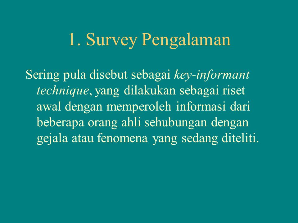 1. Survey Pengalaman