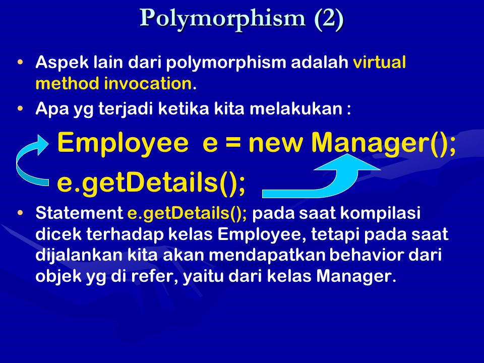 e.getDetails(); Polymorphism (2)