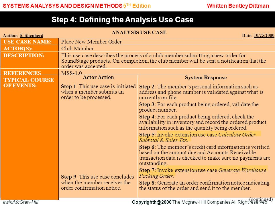 Step 4: Defining the Analysis Use Case