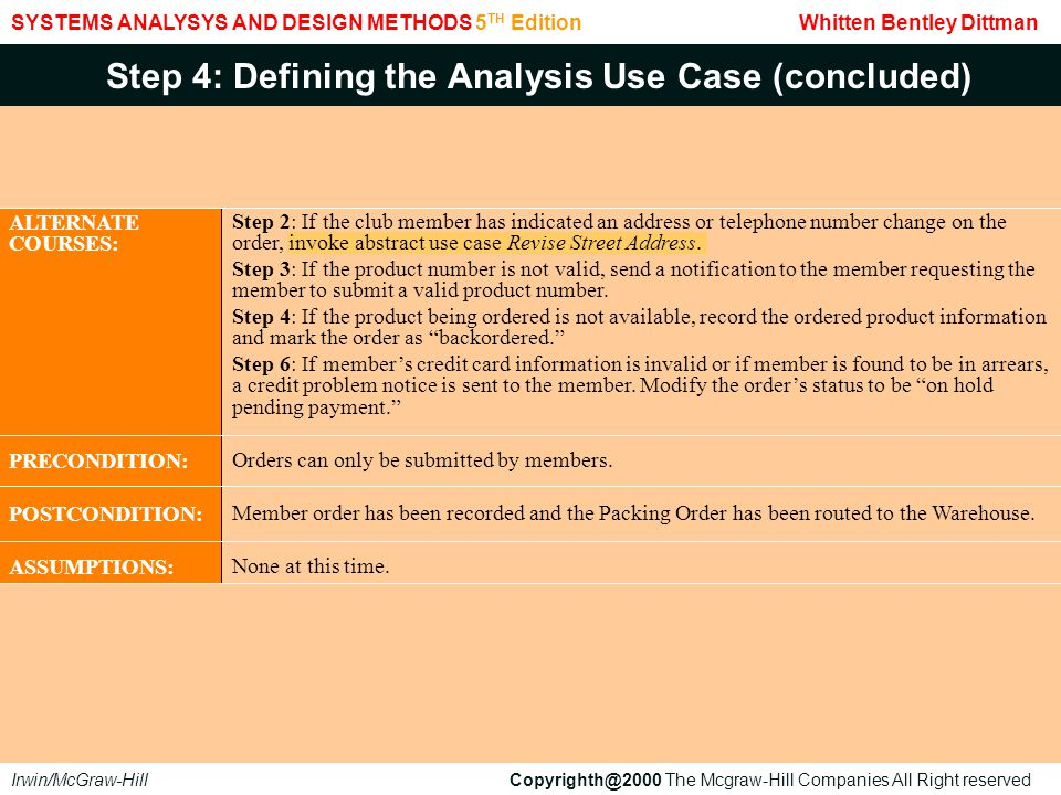 Step 4: Defining the Analysis Use Case (concluded)