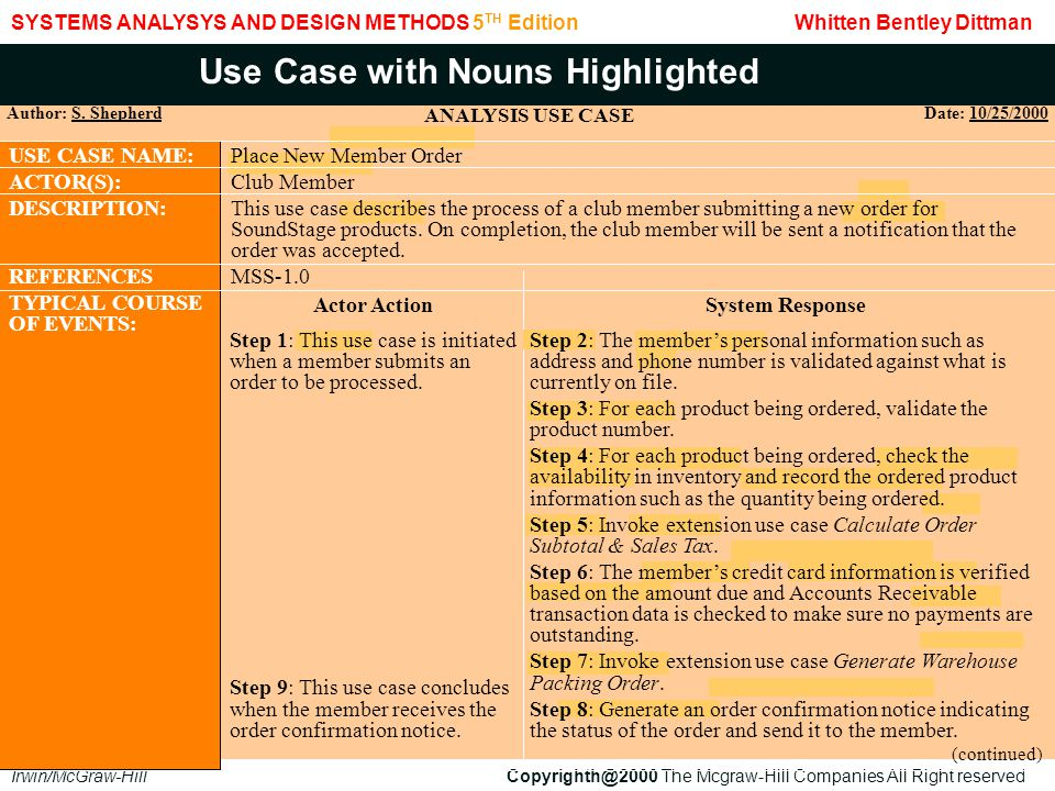 Use Case with Nouns Highlighted