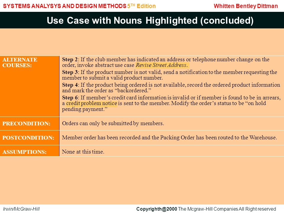 Use Case with Nouns Highlighted (concluded)