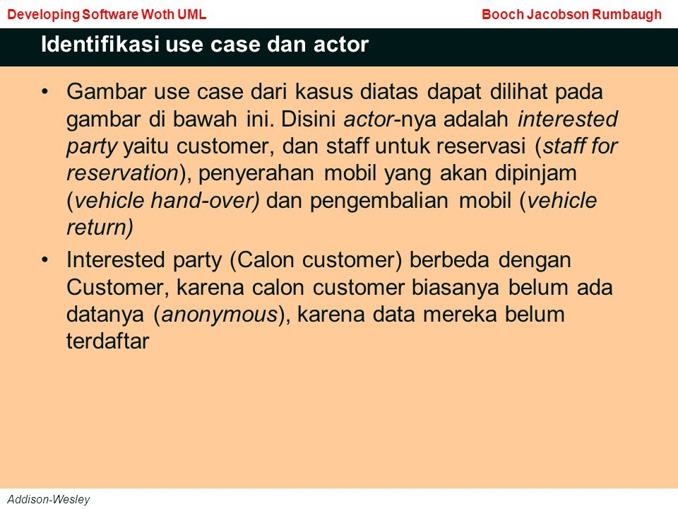 Identifikasi use case dan actor