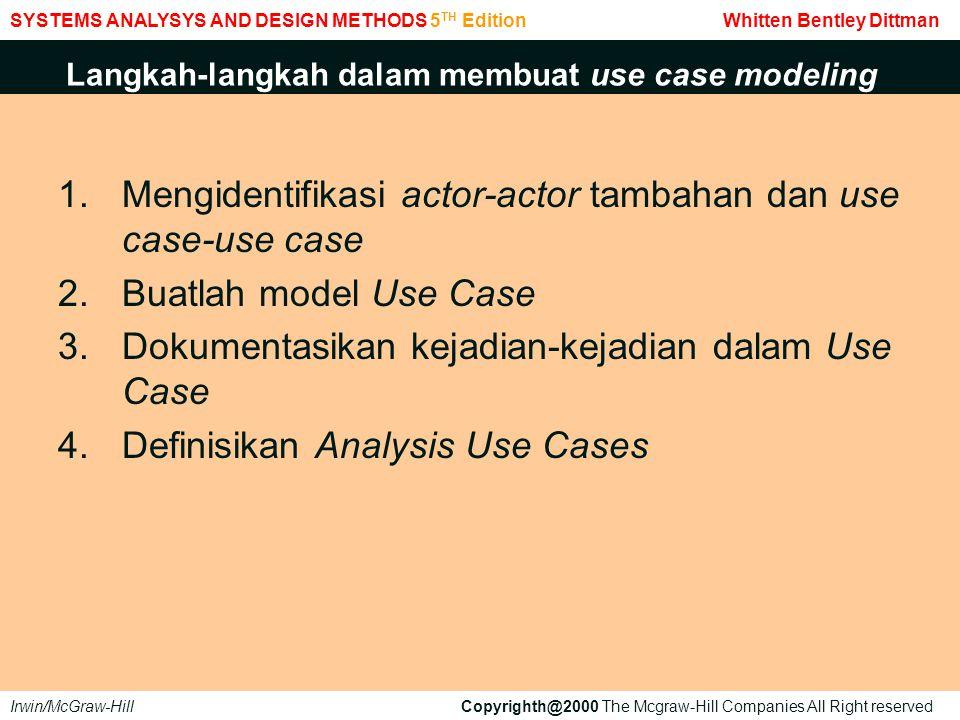 Langkah-langkah dalam membuat use case modeling