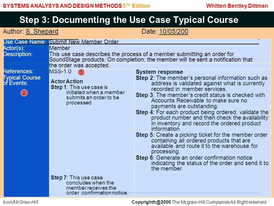 Step 3: Documenting the Use Case Typical Course