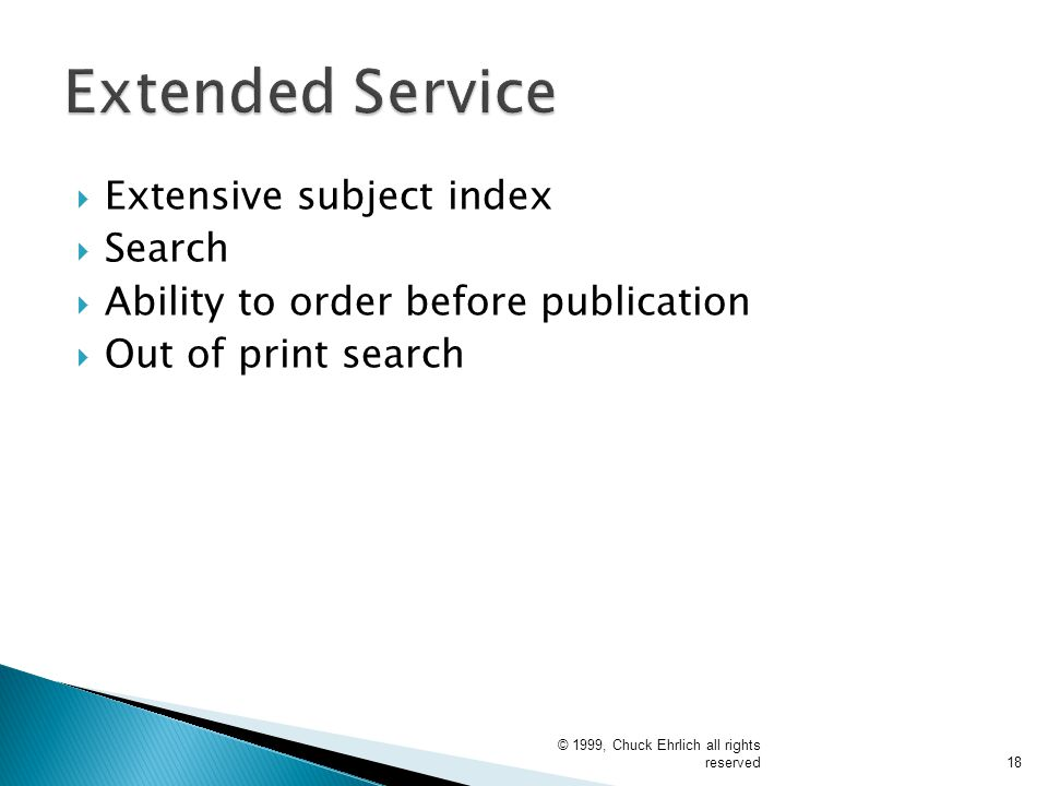 Extended Service Extensive subject index Search