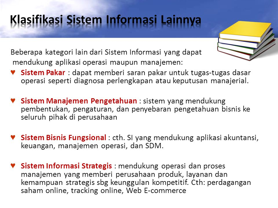 Klasifikasi Sistem Informasi Lainnya