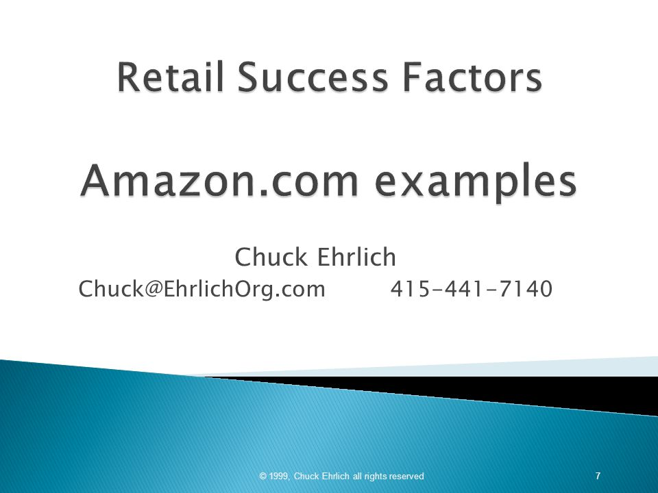 Retail Success Factors Amazon.com examples